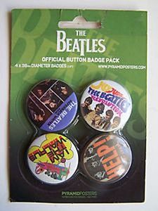 Beatles Singles  Pack of 4 Round Pin Badges (py)